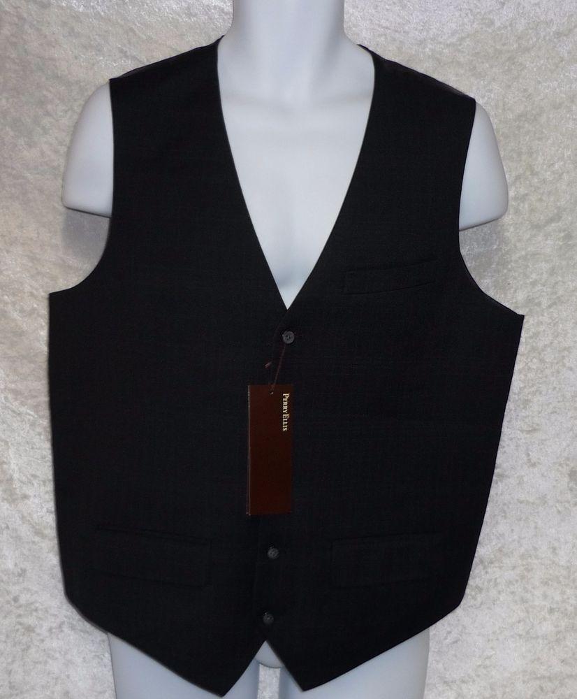 Perry Ellis Men S Suit Dress Vest Black Plaid Principles Lined Size L New Vest Dress Mens Vest Fashion Mens Suits [ 1000 x 826 Pixel ]