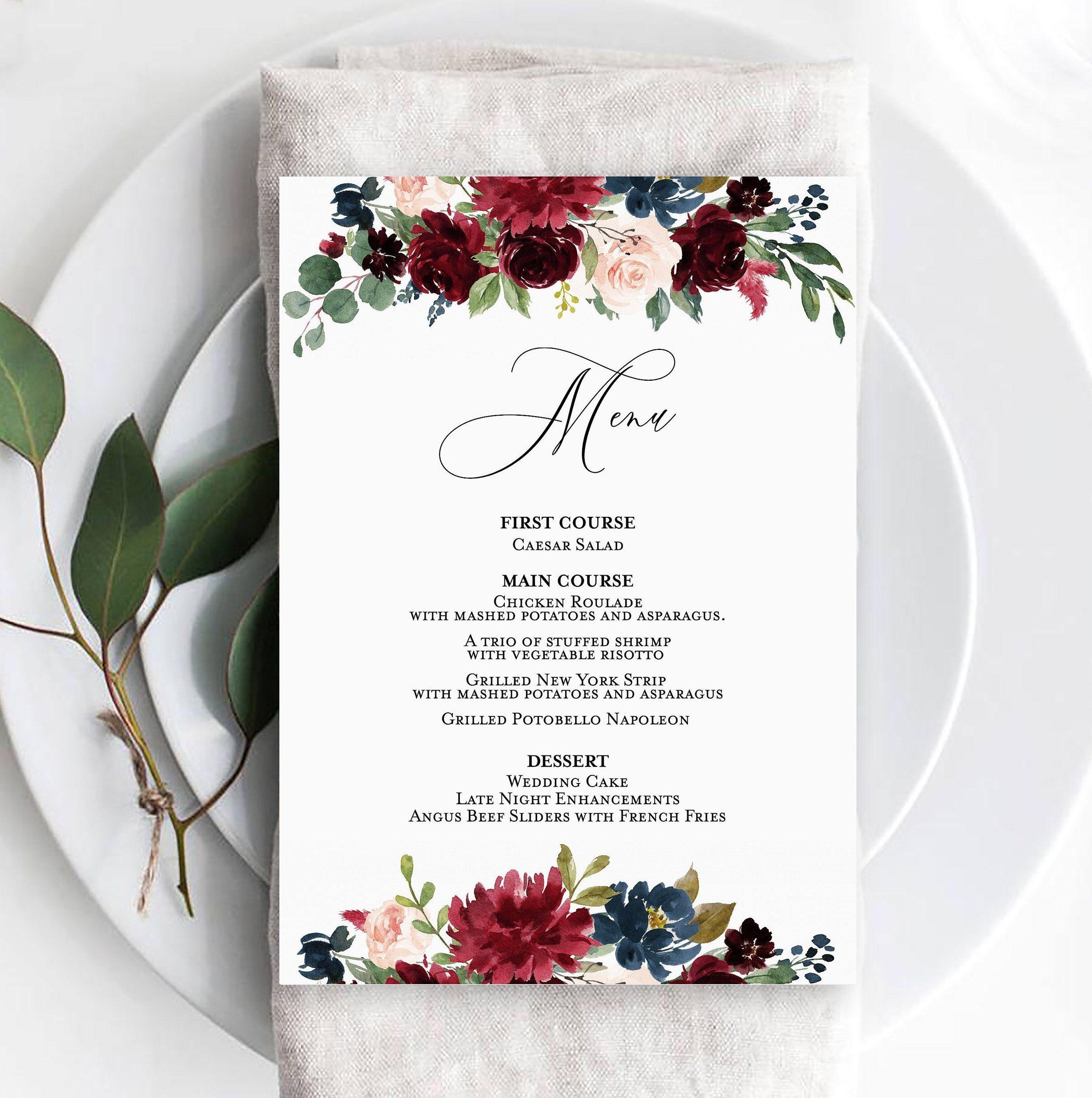 Burgundy wedding menu template wedding menu card