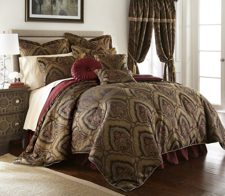 New Deluxe 9 pcs Gold//Maroon Oversized Paisley Comforter Set Cal King Queen