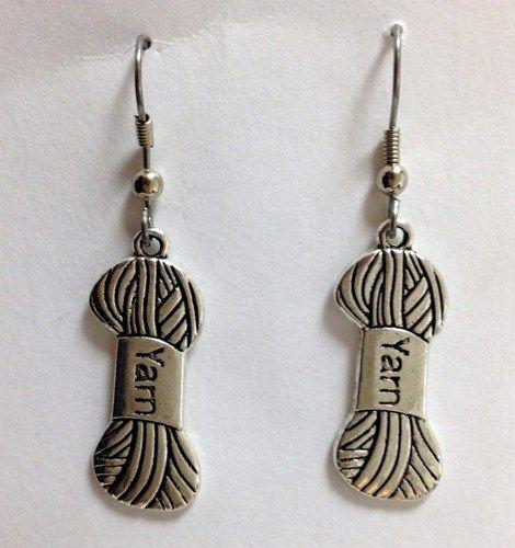 Crochet Hook Earrings: Silver Yarn Earrings, Fish Hook Drop, Dangle Knitting And