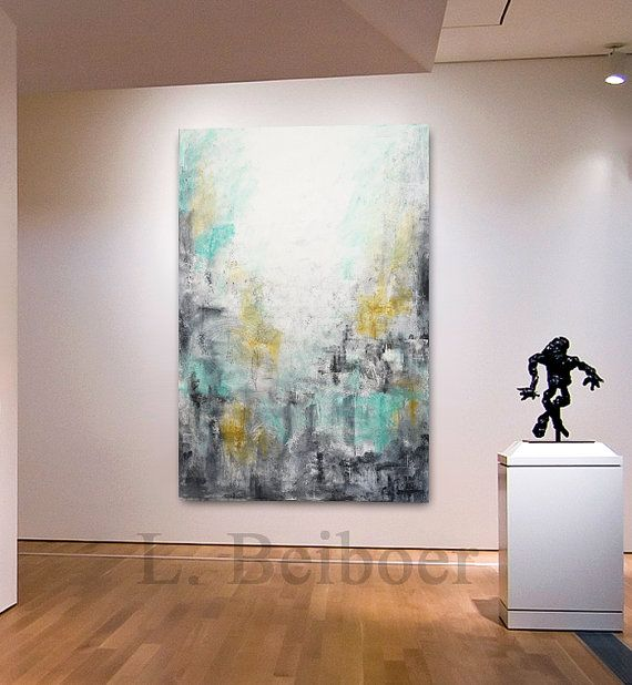 Big abstract painting original large art 40 x 60 green gray yellow painting abstract wall art