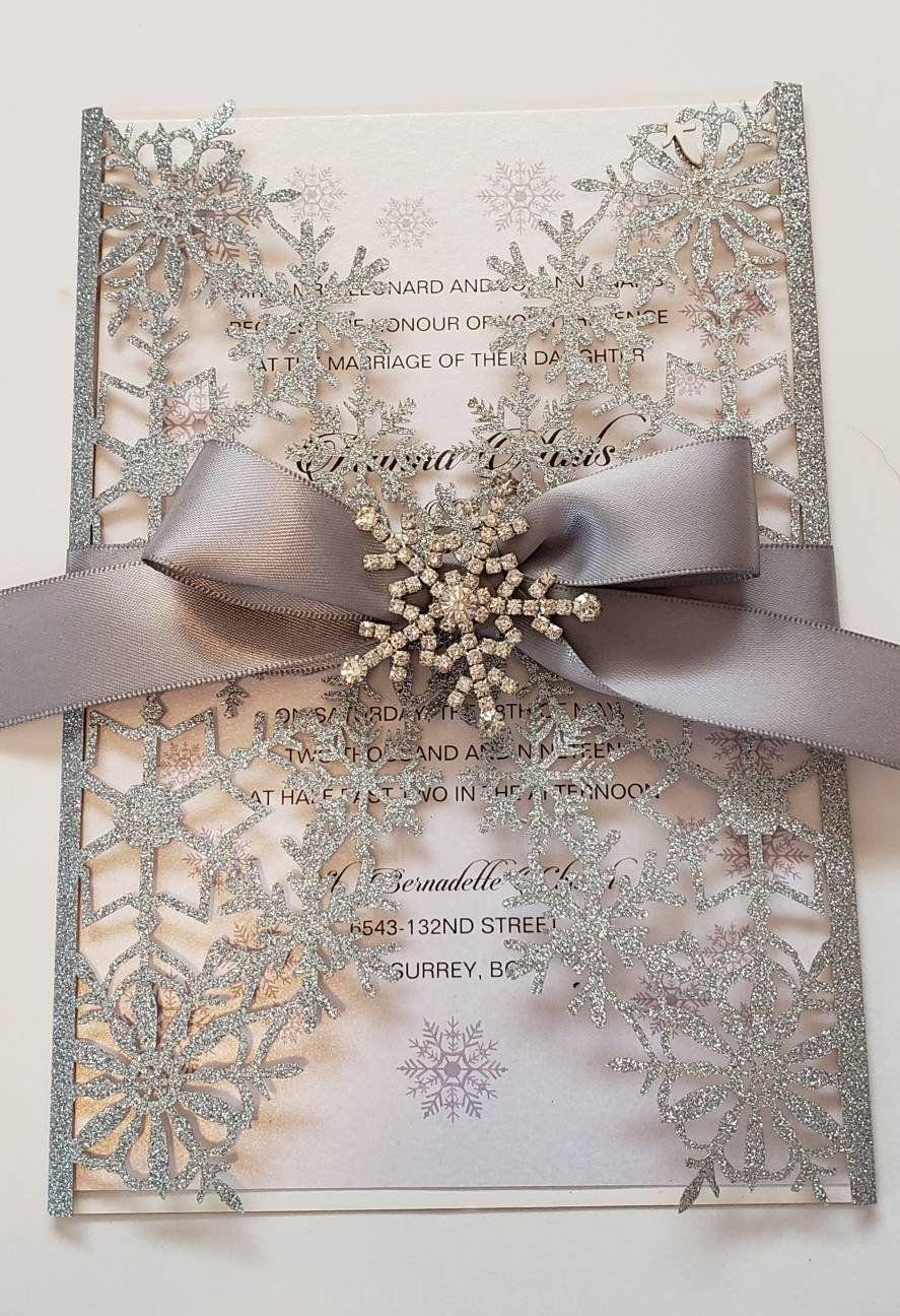 Anniversario Di Matrimonio Al Lotto.Inviti Di Nozze Fiocco Di Neve Invito Invito Invernale Glitter