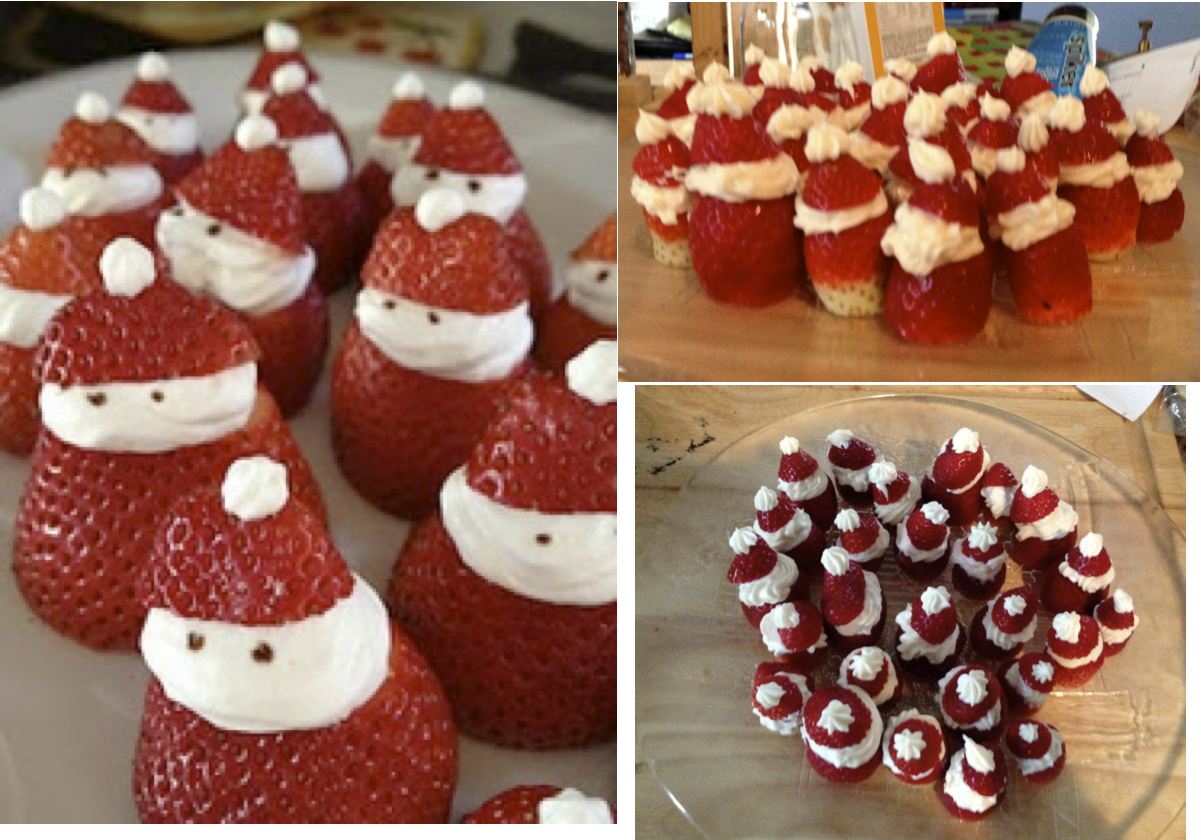 """Strawberry Santas - These were easy, just a bit messy.  I used cream cheese frosting.  I made the frosting and put the """"hats"""" right on.  Also the strawberries were still a bit wet.  Those two things combined caused the hats to slide off.  I would make the frosting before hand and put it in the fridge for awhile before assembly.  And make sure the strawberries are dry!  I didn't put eyes on and they were still cute.  Big hit!"""