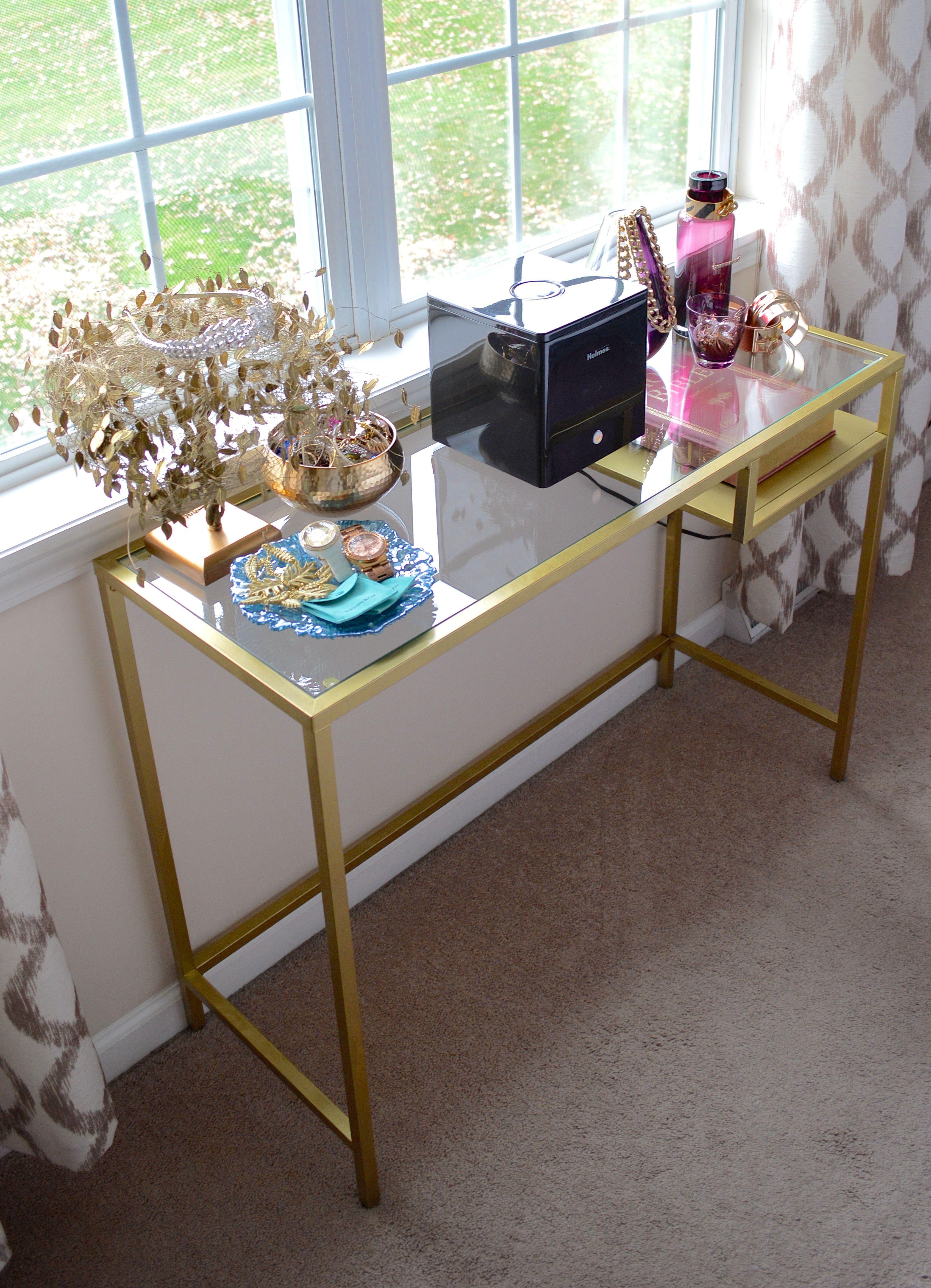 DIY Gold Console Table out of the Ikea VITTSJ– Lap top table