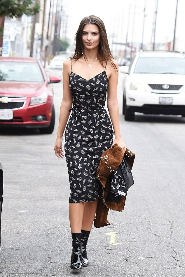 Emily Ratajkowski wearing Celine Nano Bag, A.L.C. Blaine Jacket in Tobacco, Gianvito Rossi Patent Leather Rolling High Booties and Hvn the Lily Dress