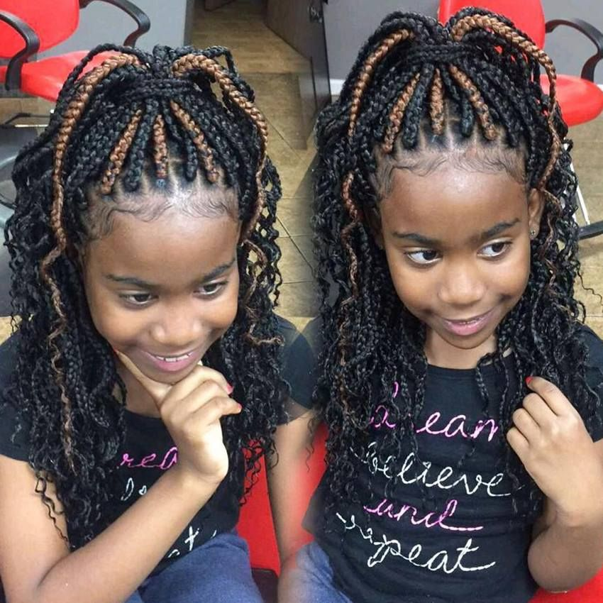 Braids Are Always Attractive And Appear Beautiful But Styling Your Hair With One Or Two Braids Seems Kids Braided Hairstyles Hair Styles Box Braids Hairstyles