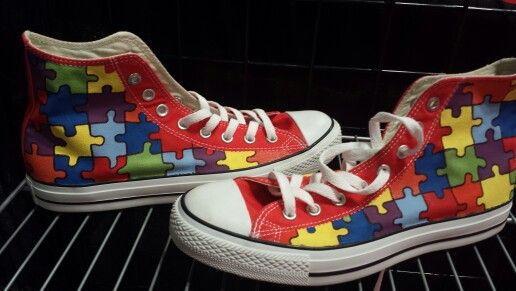 52b1cd93cb9722 Hand painted autism awareness converse. Portion of proceeds go towards  charity