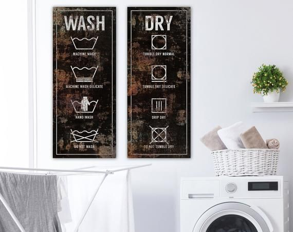 Modern Farmhouse Wall Decor Laundry Sign, Rustic Chic Wash & Dry Laundry Symbols Wall Art, Vintage Wall Art, Rustic Laundry Room Decor Print #laundrysigns