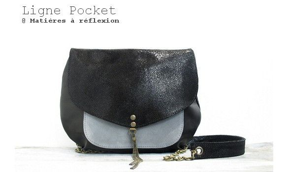 Mini-Moon Pocket cuir shiny/gris #matieresareflexion #bag #pocket #leather #black #grey #madeinfrance
