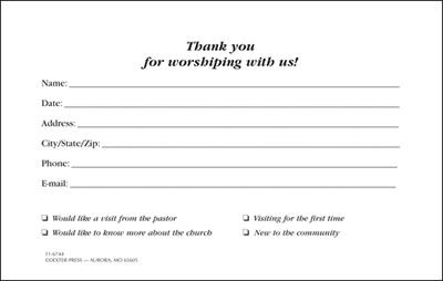 church visitor information cards - Google Search