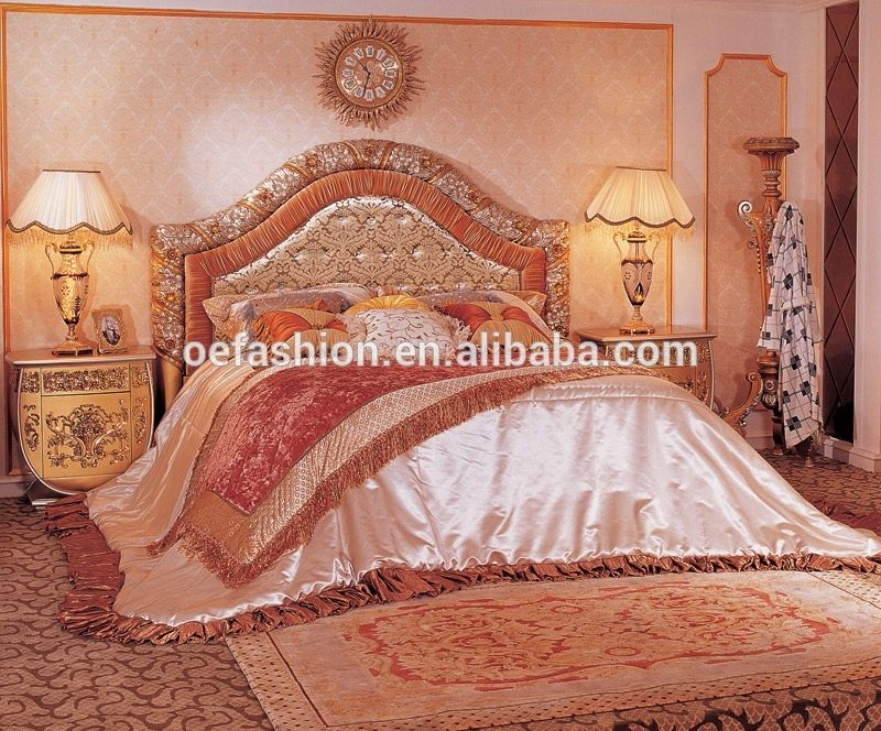 Oe Fashion Luxurious Queen Size Wood Carving Princess Bed For Home