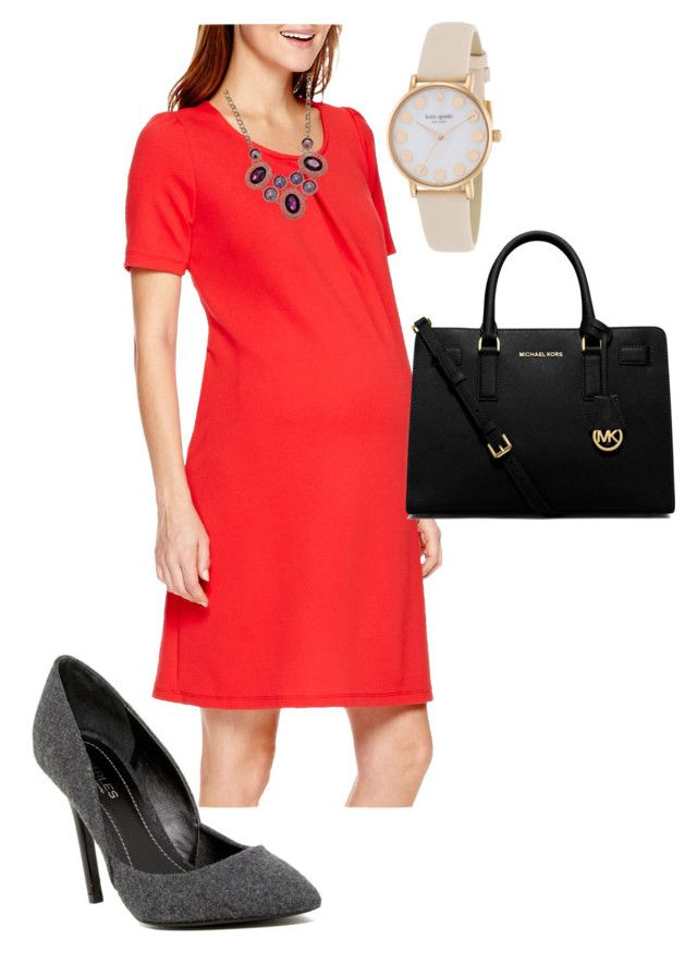 """Preggo  2"" by laura-lynn-brown on Polyvore featuring Charles by Charles David, MICHAEL Michael Kors, Kate Spade and Mixit"