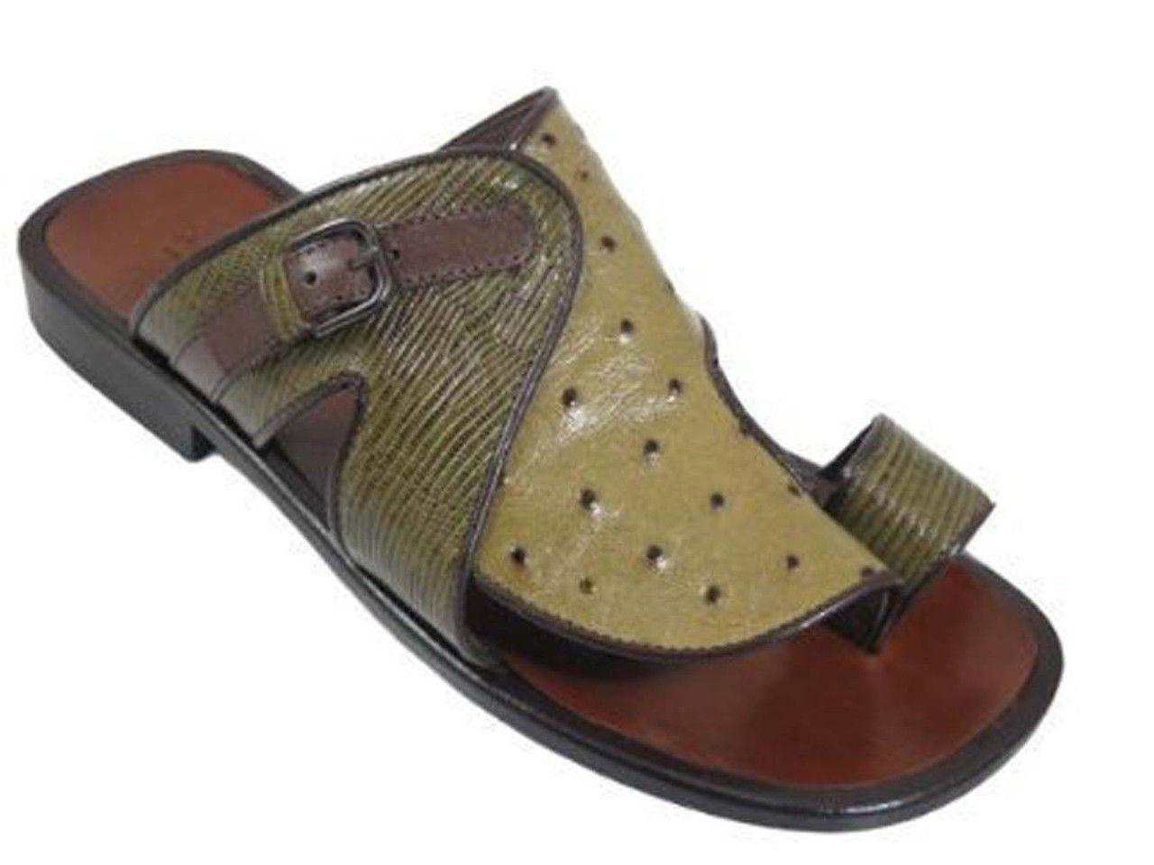 b953e66e96f Men s Davinci 1677 Italian Leather Push-In-Toe Ostrich Sandal in ...