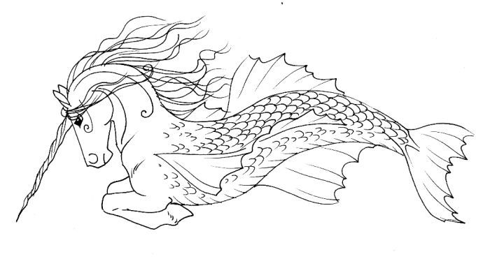 Hippocampus Lineart Horse Coloring Pages Dragon Coloring Page Mythical Creatures Art