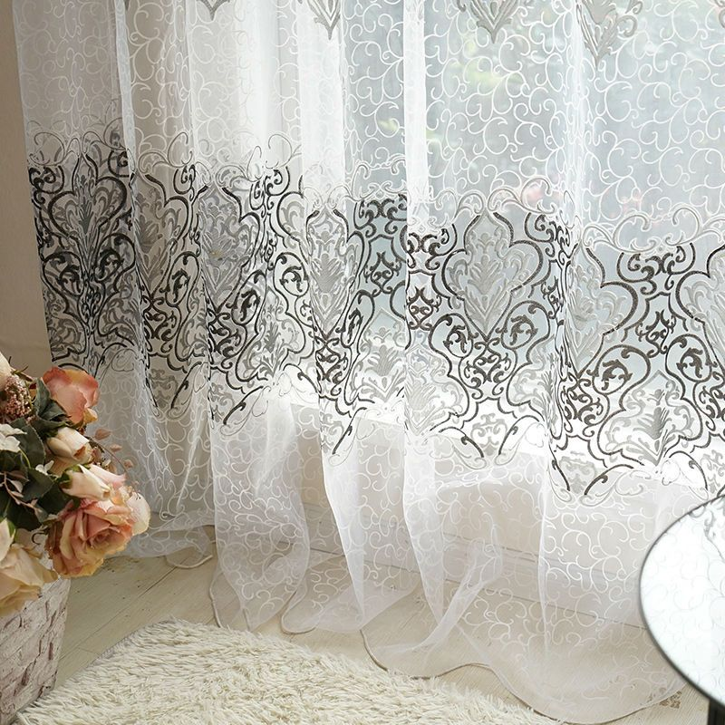 European Curtains For Living Room Bedroom Kitchen D Fabric Fl Printed Voile Sheer Curtain Window