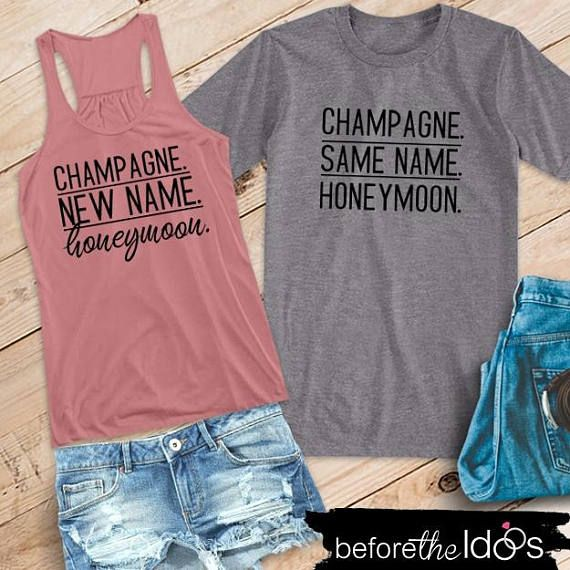 Champagne. New/Same Name. Honeymoon. Flowy Racerback Tank and T-Shirt Set /// Honeymoon Shirts, Just Married Shirts, Couples Shirts | #1501 #beachhoneymoonclothes