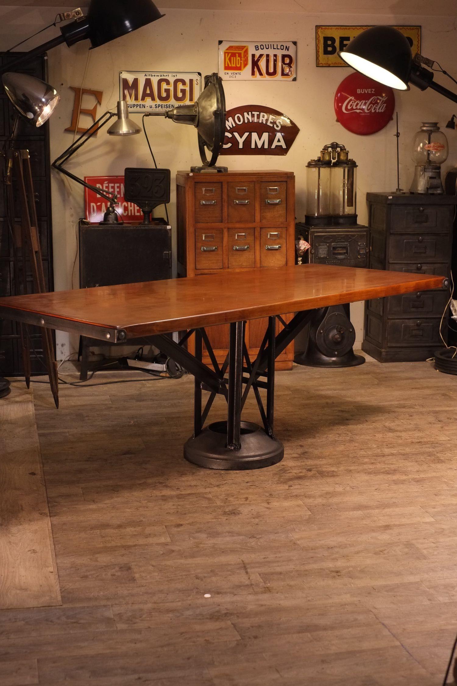 table ancienne pied fonte deco meuble industriel vintage. Black Bedroom Furniture Sets. Home Design Ideas