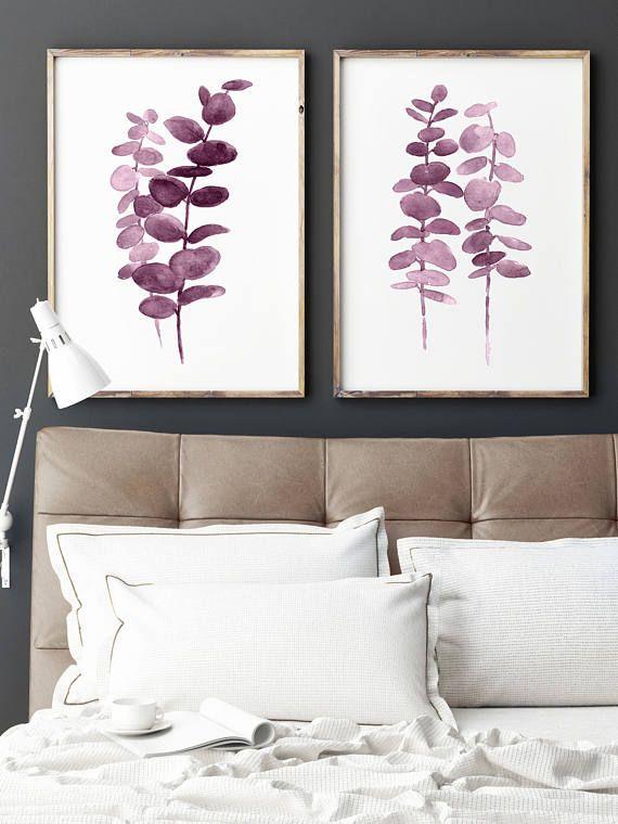 Purple Botanical Print, Eucalyptus Leaves set 2 Art Prints