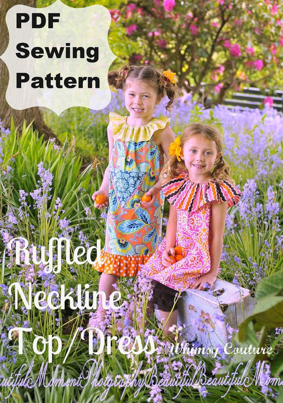 Whimsy Couture Sewing Pattern Tutorial ebook -- Vintage Ruffled Neckline Top/Dress-- with ruffles sizes 6m -12 girls Instant