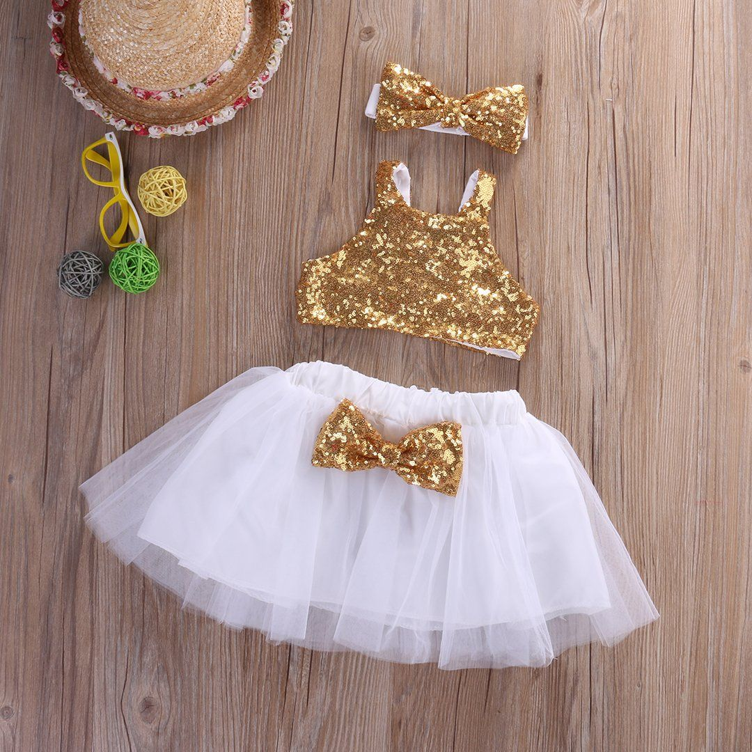 USA Toddler Infant Baby Girl Kids T-shirt Vest Top Skirt Dress Clothes Outfit