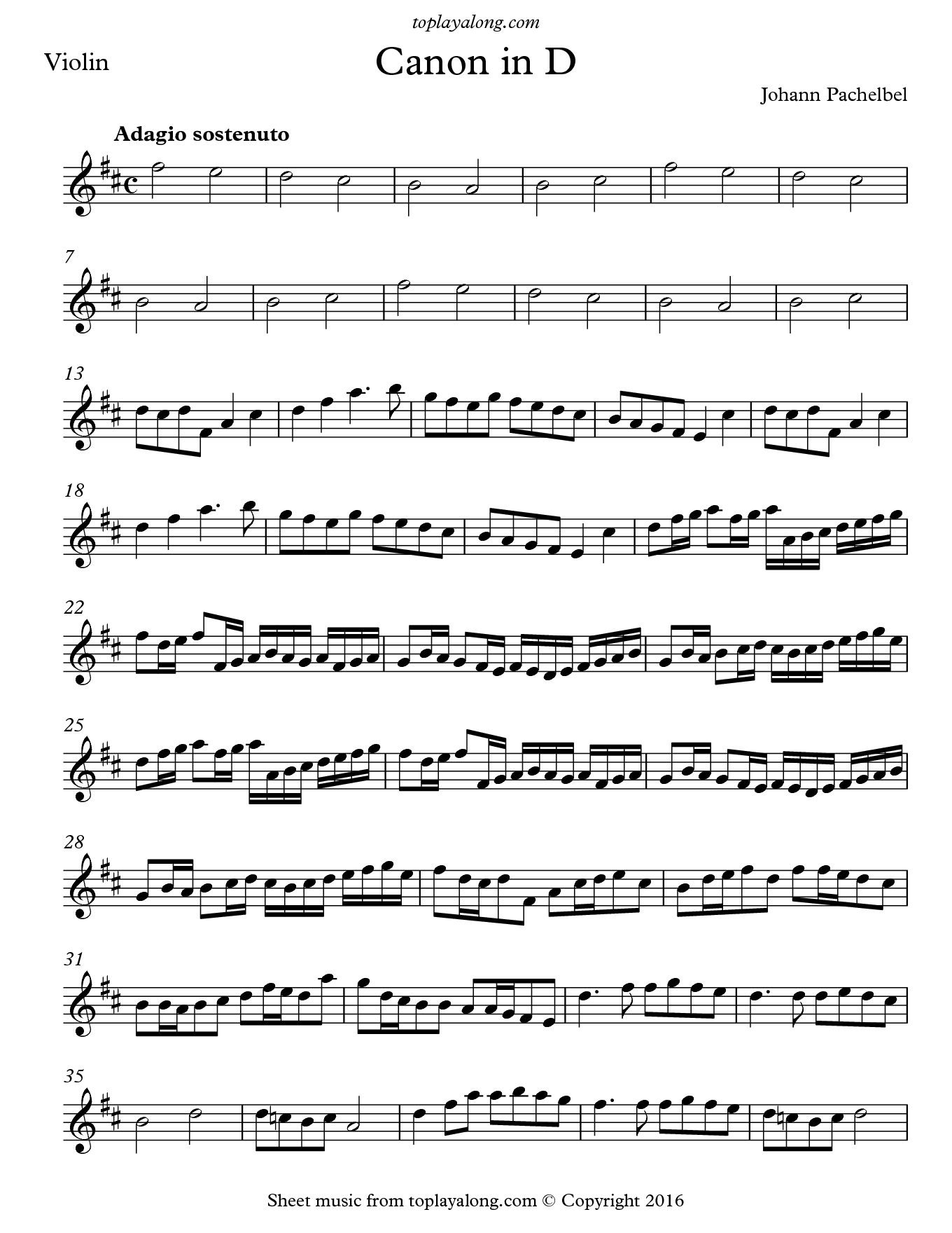 Canon in D by Pachelbel  Free sheet music for violin  Visit