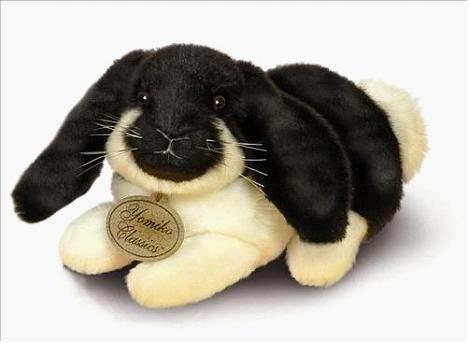 """Conejo de peluche """"Lop Ear Bunny"""", de Russ Berrie,  (24 cm.) Superficie lavable. Russ Berrie cerró, pero ahora Suki da continuidad a sus diseños."""