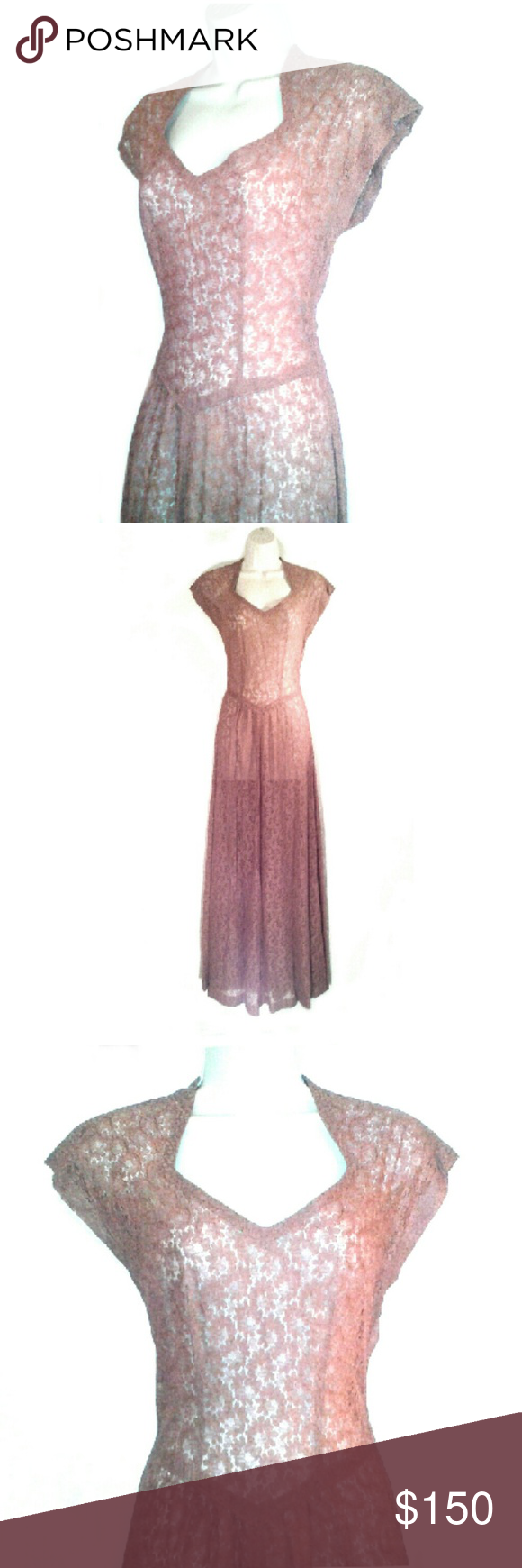 Rare vintages sheer lace evening gown cocoa iuve handled a lot