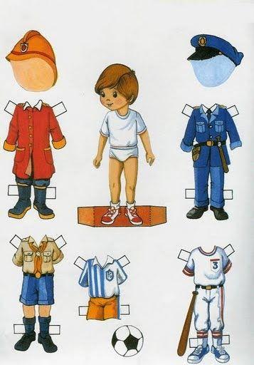 Descargar Gratis Muñeco Recortable Con Trajes De Los Oficios Y Profesiones Imprimibles Niños Muñecas De Papel Antiguas Sobres De Papel