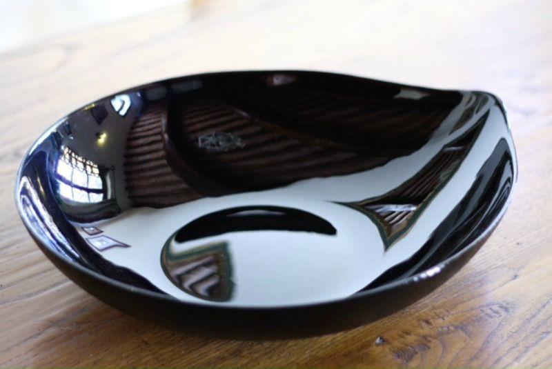 Black Teardrop Glass Platter