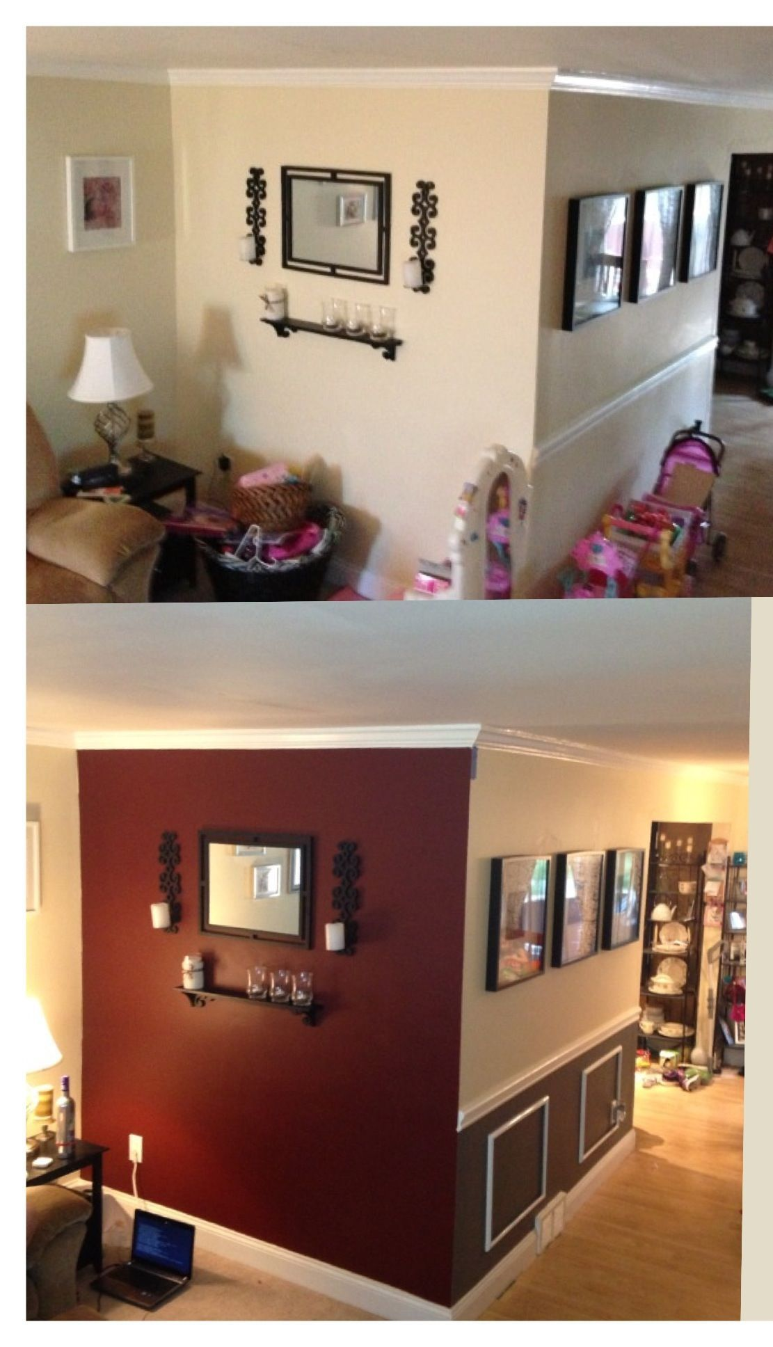 Before And After Accent Wall And Diy Wainscoting With Dark Jdk Grey Red Dining Wall Wainscoting Diy Wainscoting Accent Walls In Living Room Grey Accent Wall #red #living #room #accent #wall