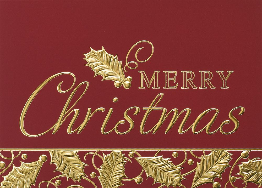 Elegant Holly Christmas Greeting Card - Your Company Name Here ...