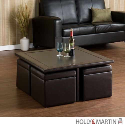 """LIVING ROOM COFFEE TABLE Broderick Dark Chocolate Storage Cube Table Set 35.75"""" W x 35.75"""" D x 18"""" H Ottomans 16"""" W x 16"""" D x 16"""" H each Storage 13.5"""" W x 13.5"""" D x 11"""" H Wrapped with dark chocolate faux leather, each stool can be nested under the table or pulled out for seating. Lift the lid of each ottoman for added storage of blankets, pillows or even a dining set…"""