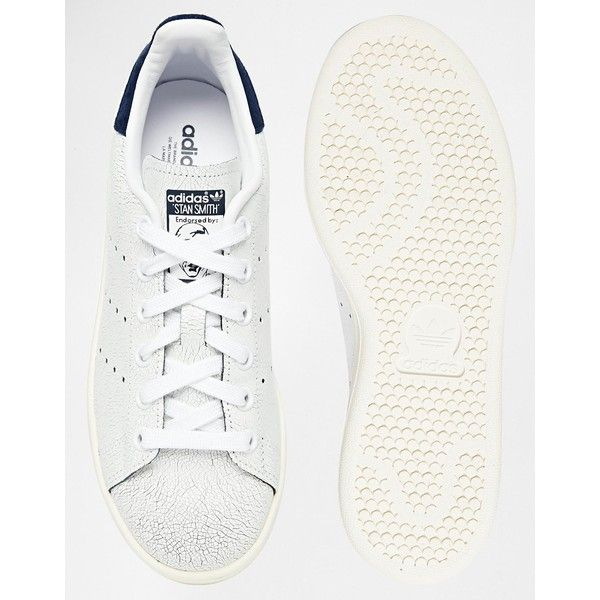 adidas originals crackled leather stan smith blue trainers