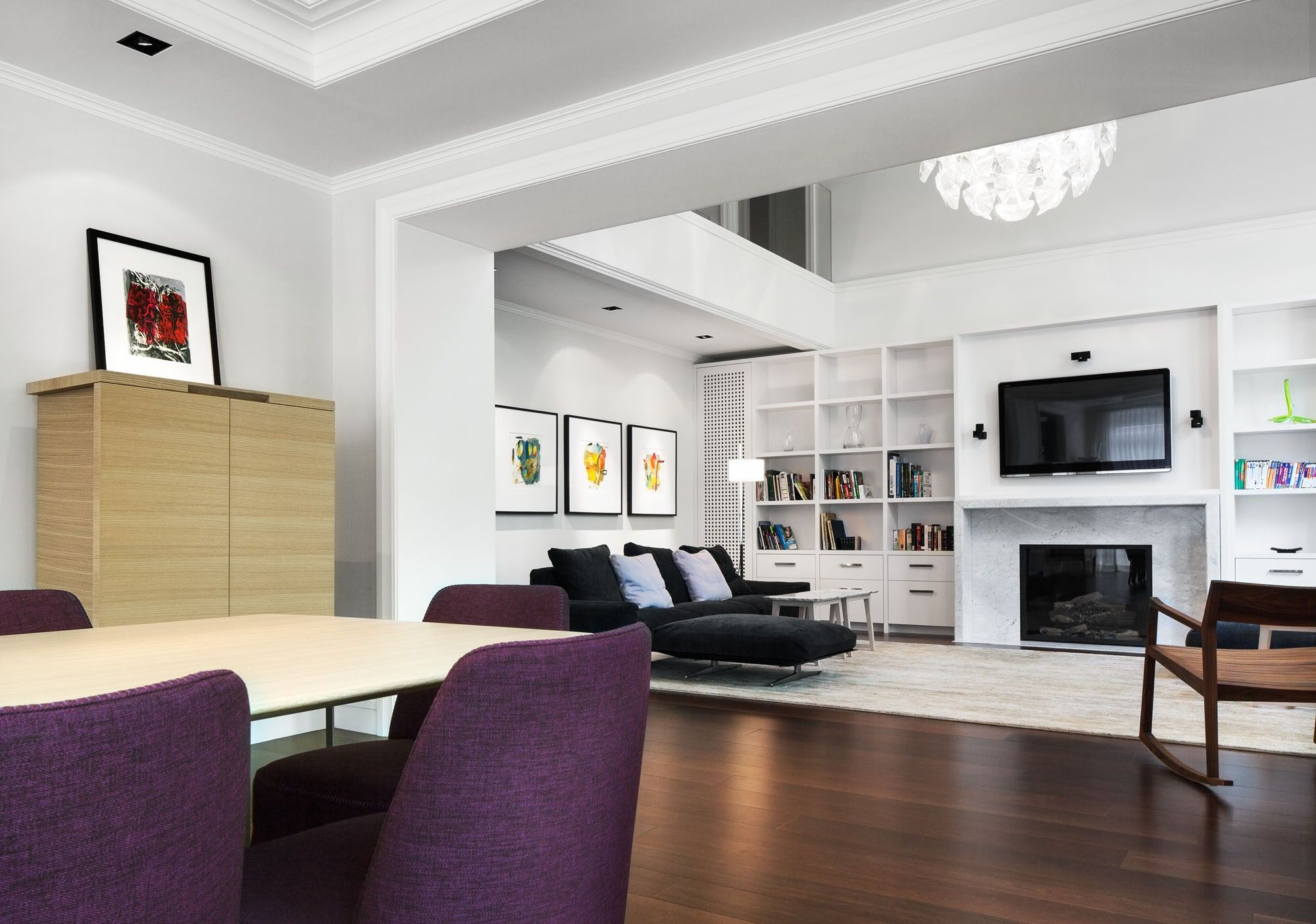 Large Living Room Interior Having White Lacquer Tall Narrow Cabinet ...
