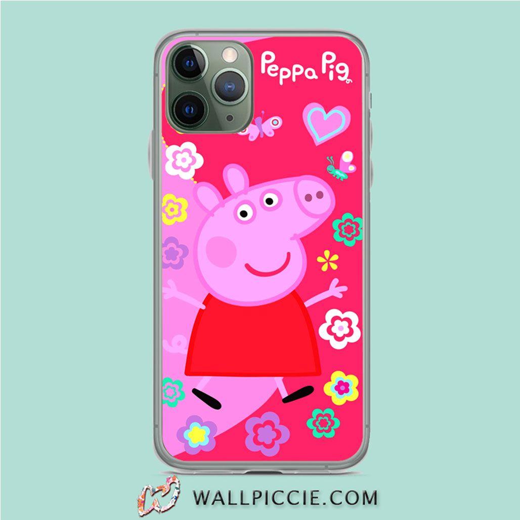 Cute peppa pig floral iphone 11 pro case custom phone