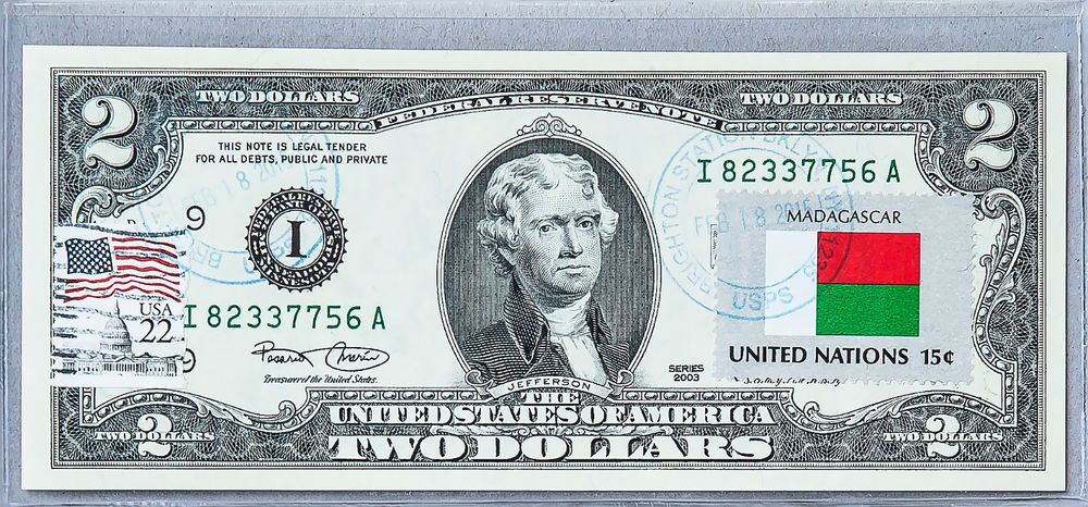 United States Note Currency Paper Money Unc 2 Dollar Bill Stamp Flag Madagascar
