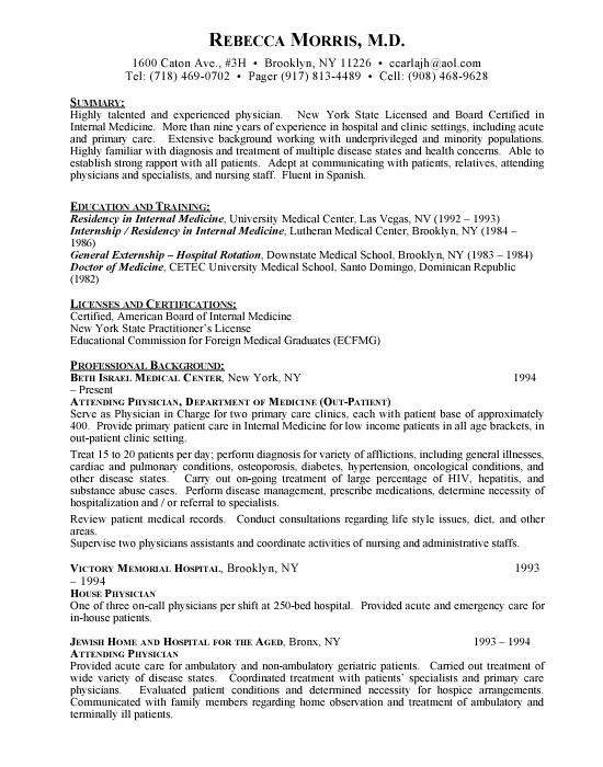 Physician Assistant Resume Sample For Physician Medical Doctor