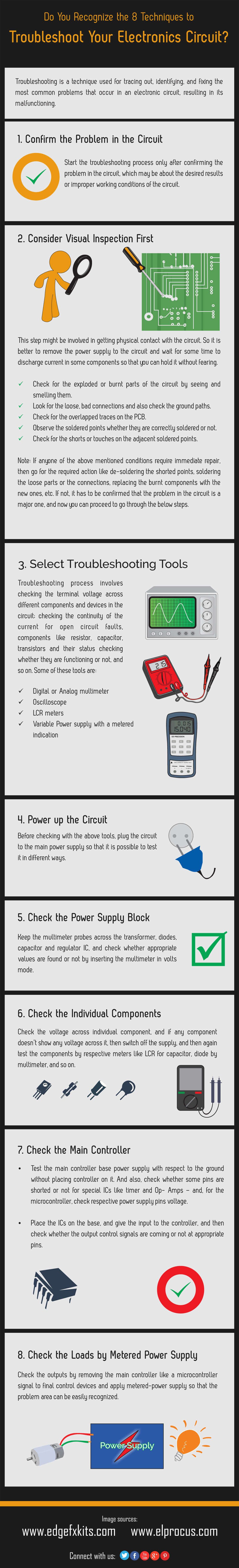 Infographic 8 Steps To Troubleshoot Your Electronic Circuit Understanding Electricity And How A