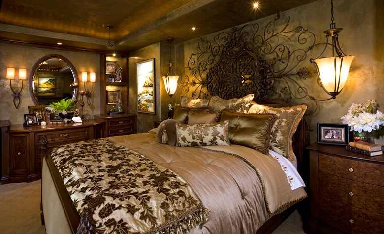 tuscan style bedroom in gold and brown