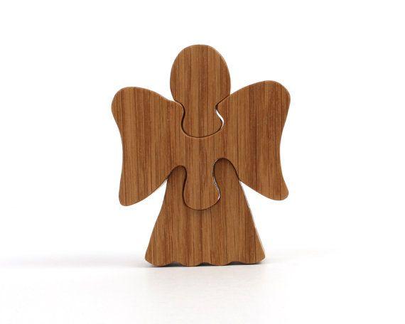 Diese Hand geschnittene drei Stückchen Holz Engel Puzzle würde eine ...
