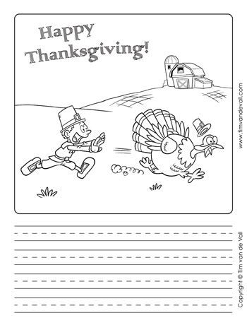 Pilgrim Vs Turkey Thanksgiving Writing Paper Template