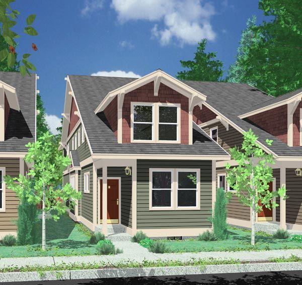 Modern Row House Plans: House Plans :: Duplex Plans :: Row Home