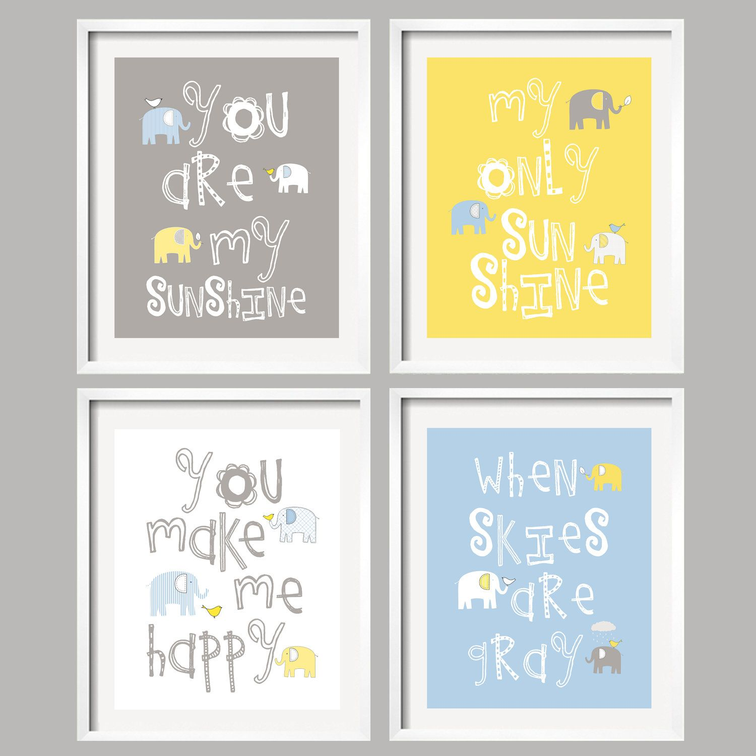 Golden Yellow Blue And Gray Baby Room You Are My Sunshine Grey Nursery Art Prints