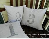 numbered drop cloth pillow rustic simple country cute for wedding