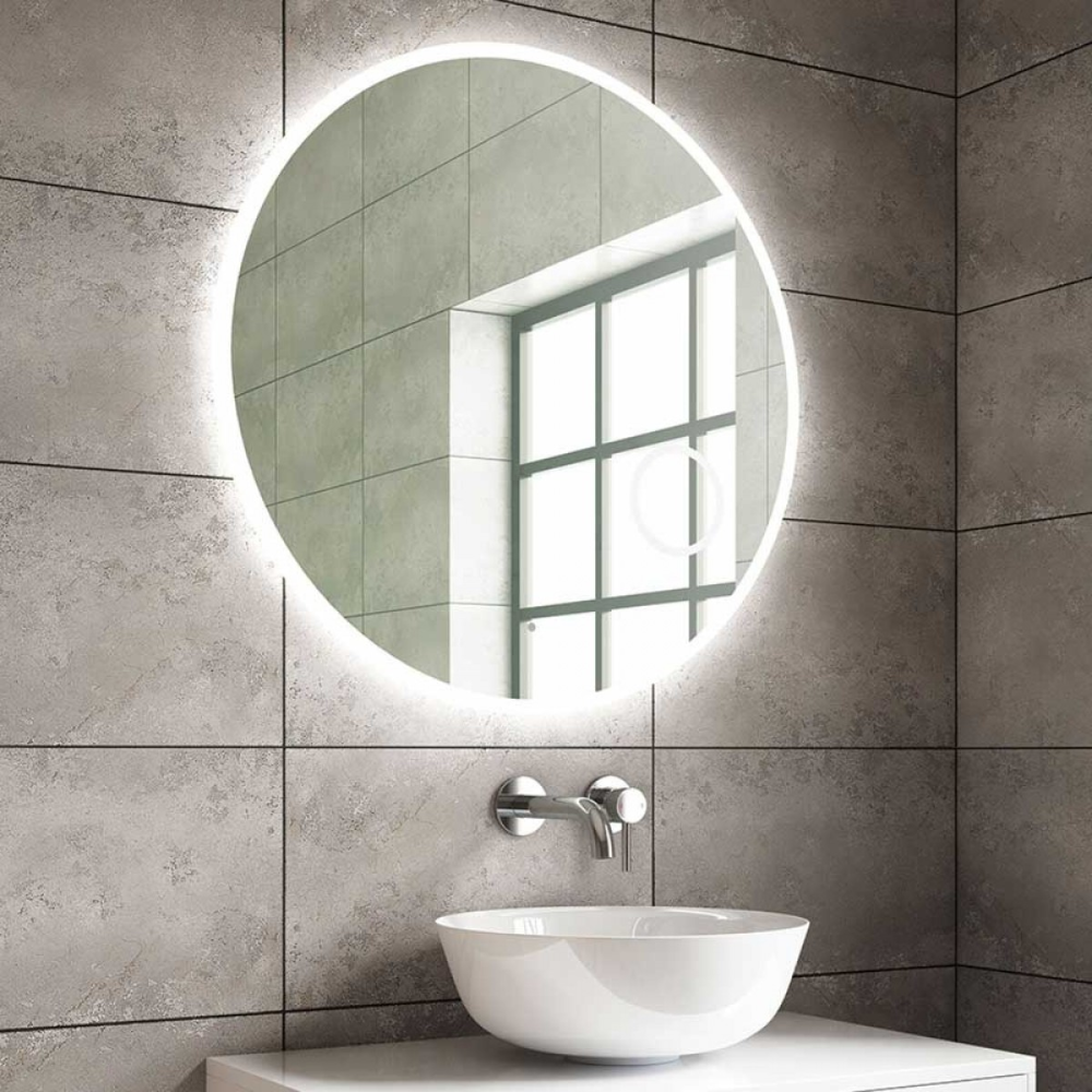 Harbour Glow Round Slimline Led Mirror With Demister Pad Colour Change Leds Magnifying Mirror 800mm In 2020 Led Mirror Large Bathroom Mirrors Illuminated Bathroom Cabinets