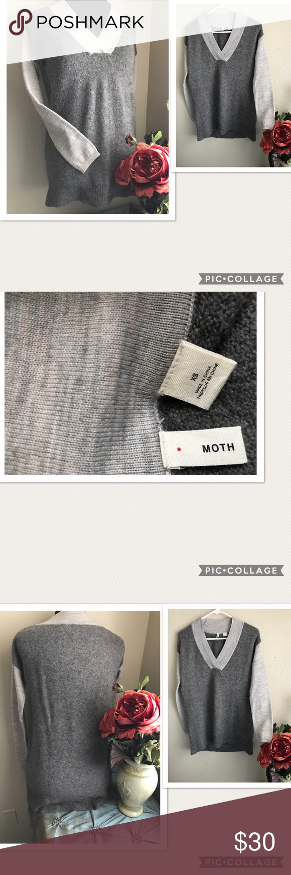 "Anthropologie MOTH Wool Alpaca Sweater Anthropologie MOTH Wool Alpaca Sweater. Two toned gray. Material: 47% Wool, 40% Nylon, 9% Alpaca, 4% Spandex. Size: XS. Pit-pit: 20"", Length: 27.5"". Preowned with normal signs of wash and wear. Great used condition. Anthropologie Sweaters V-Necks"