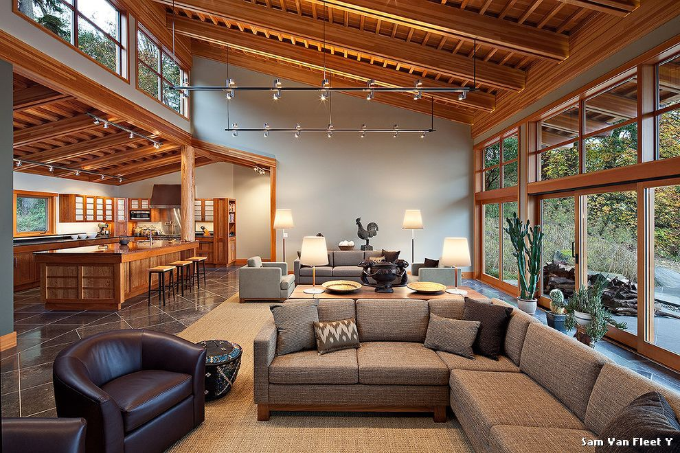 Best Clerestory Windows Contemporary Living Room With Sloped 400 x 300