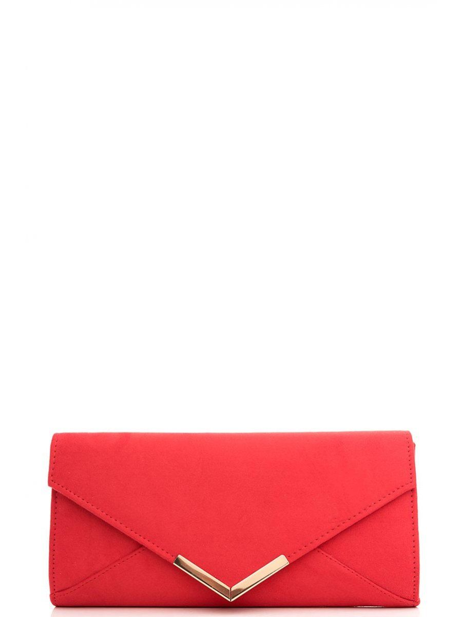 Red Faux Suede Clutch Bag Quiz Clothing