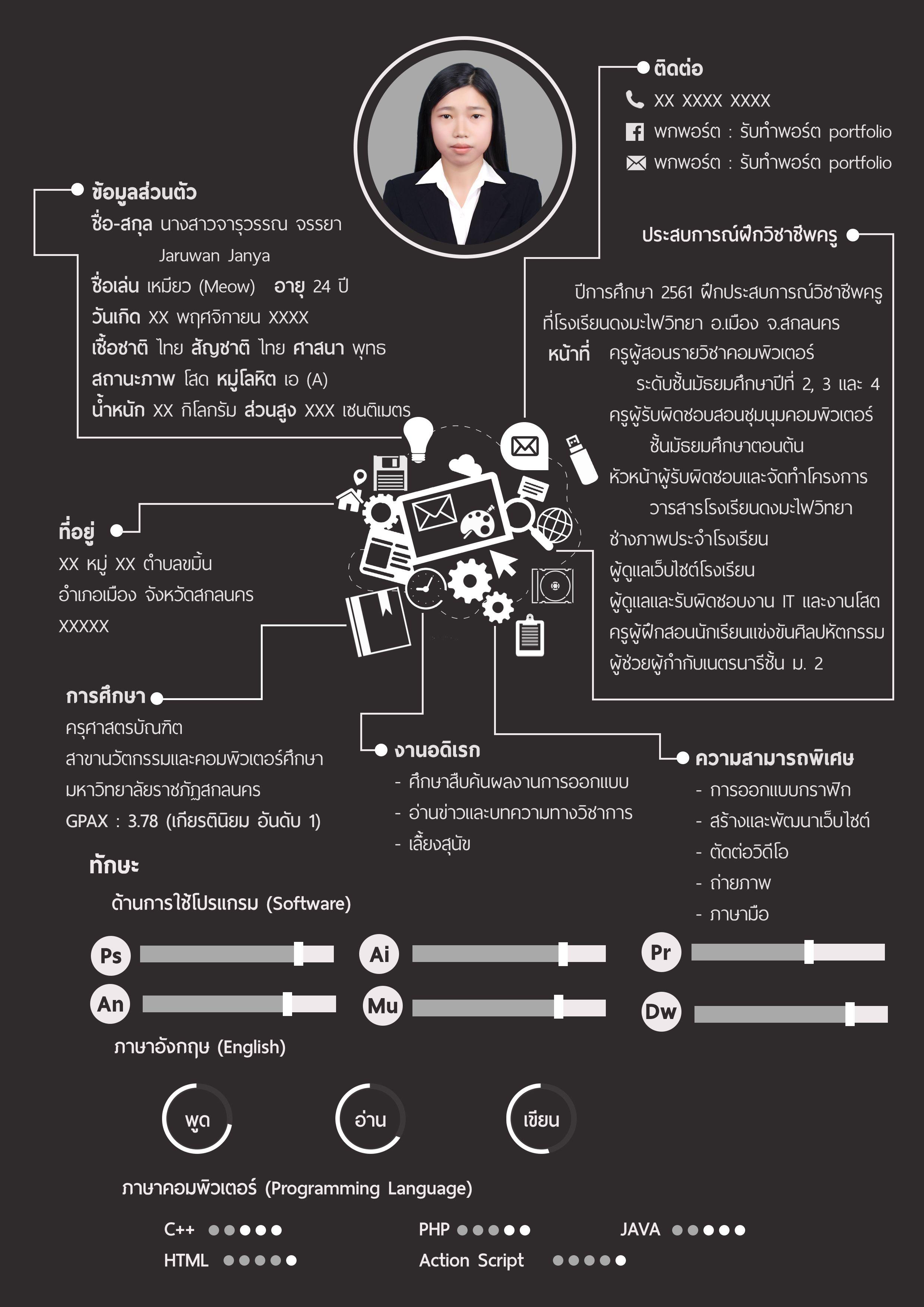 Resume Portfolio Design พอร์ต พอต ตัวอย่างพอร์ต