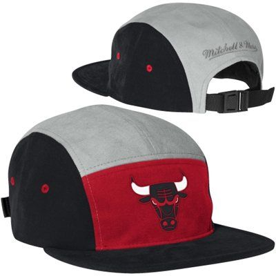 Mitchell   Ness Chicago  Bulls Current Logo Color-Block Camper Adjustable  Hat - Red Black  27.95 4c60f9224be
